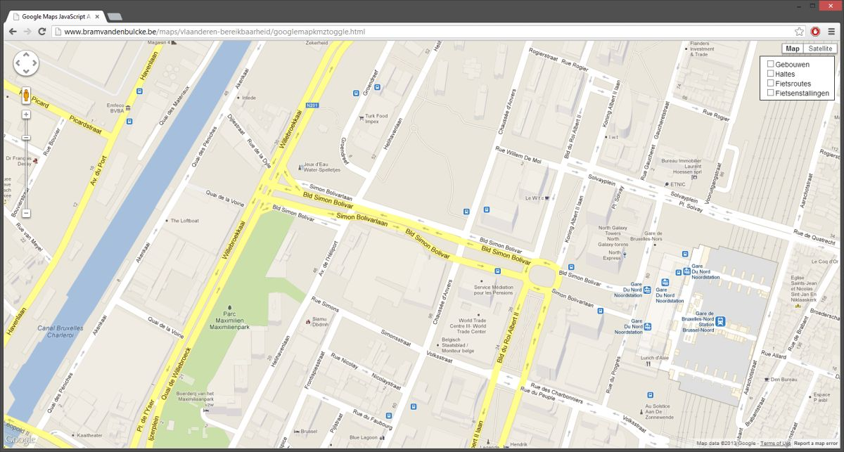 google map with layer toggle