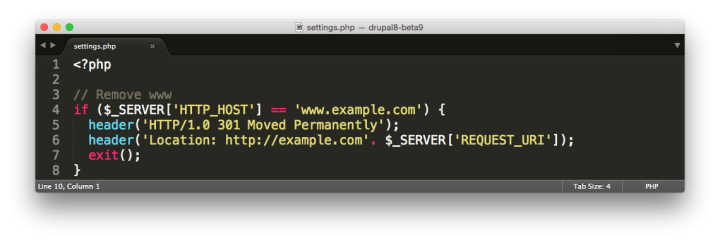Drupal settings.php remove www